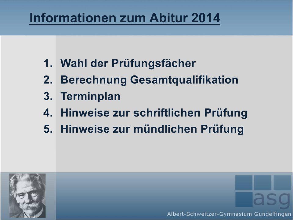 Informationen zum Abitur 2014