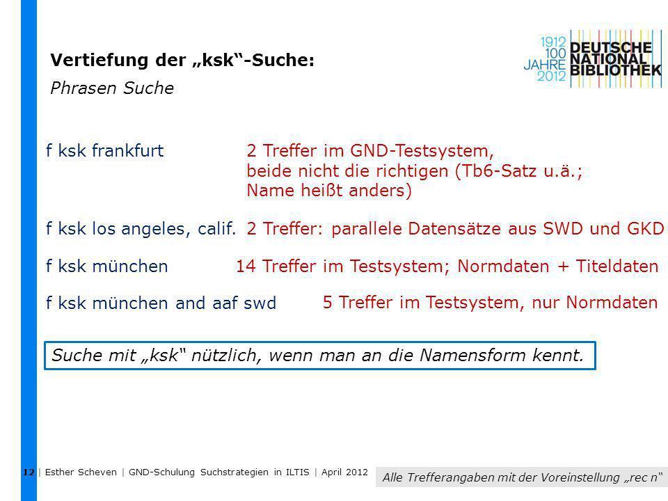 """Vertiefung der """"ksk -Suche: Phrasen Suche"""