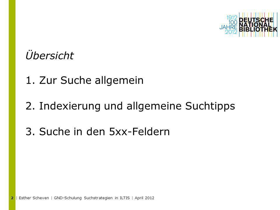 Indexierung und allgemeine Suchtipps Suche in den 5xx-Feldern