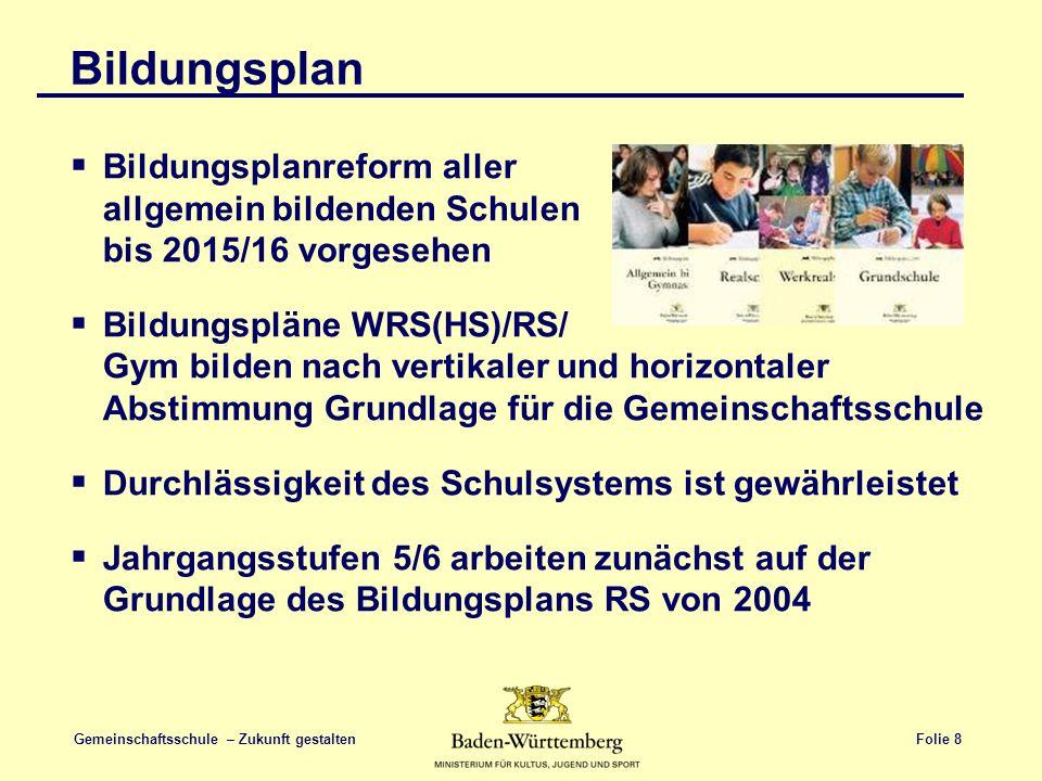 Bildungsplan Bildungsplanreform aller allgemein bildenden Schulen bis 2015/16 vorgesehen.