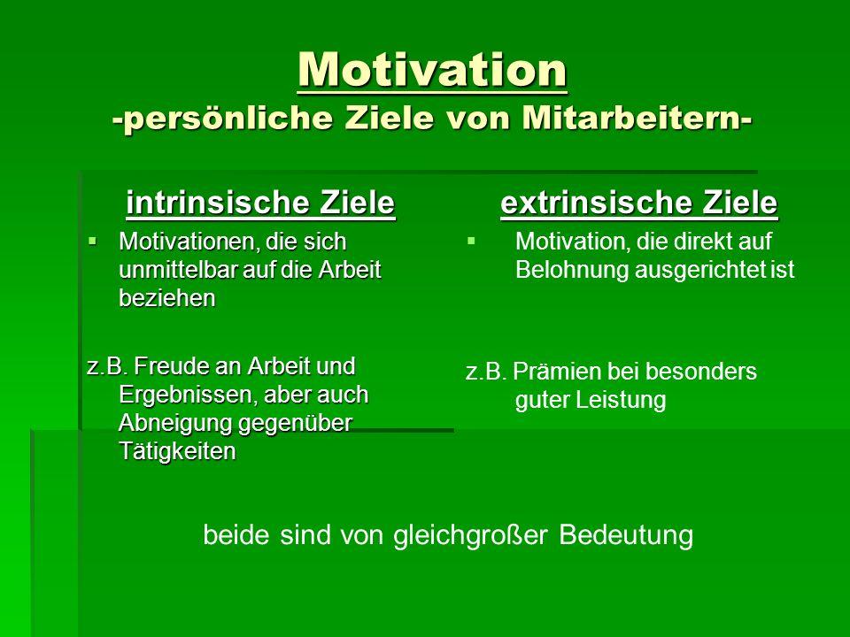 Motivation -persönliche Ziele von Mitarbeitern-
