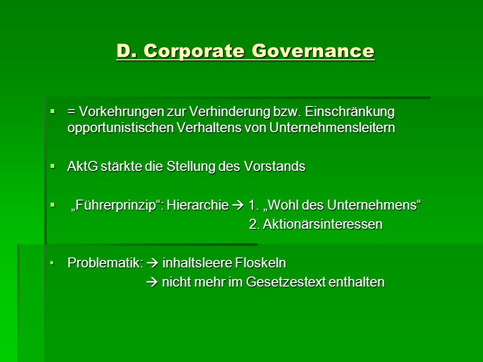 D. Corporate Governance