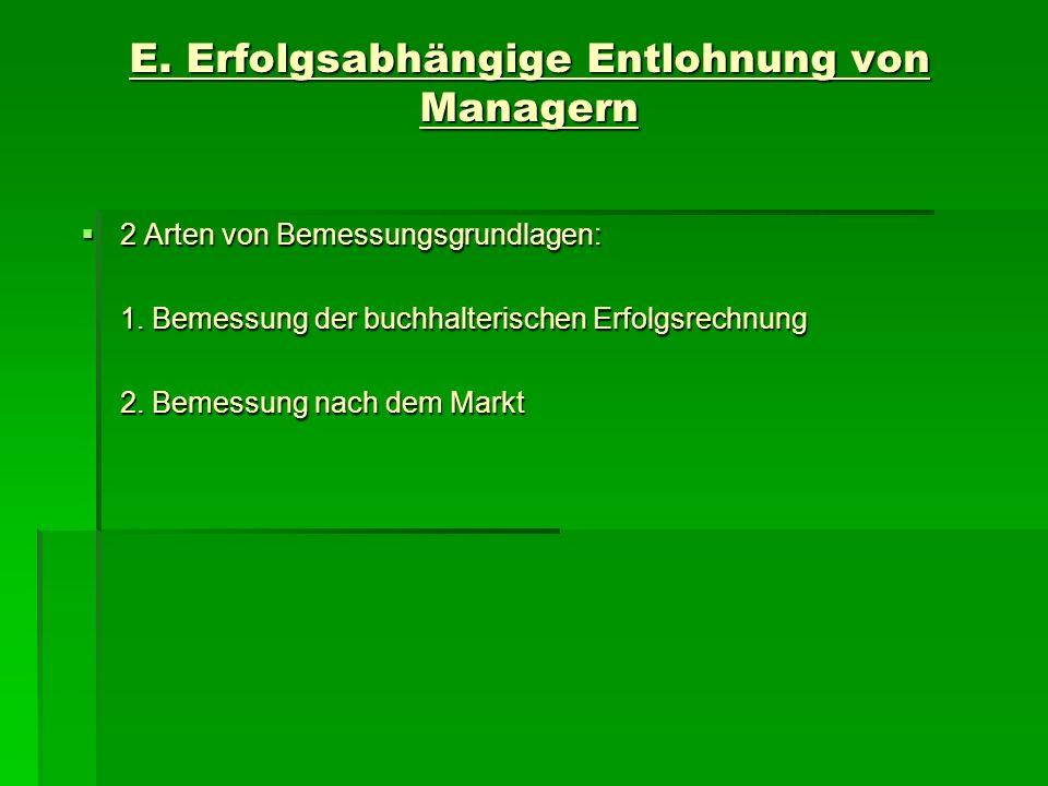 E. Erfolgsabhängige Entlohnung von Managern