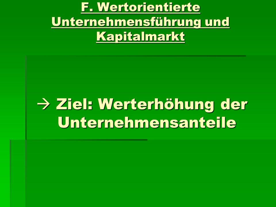 F. Wertorientierte Unternehmensführung und Kapitalmarkt