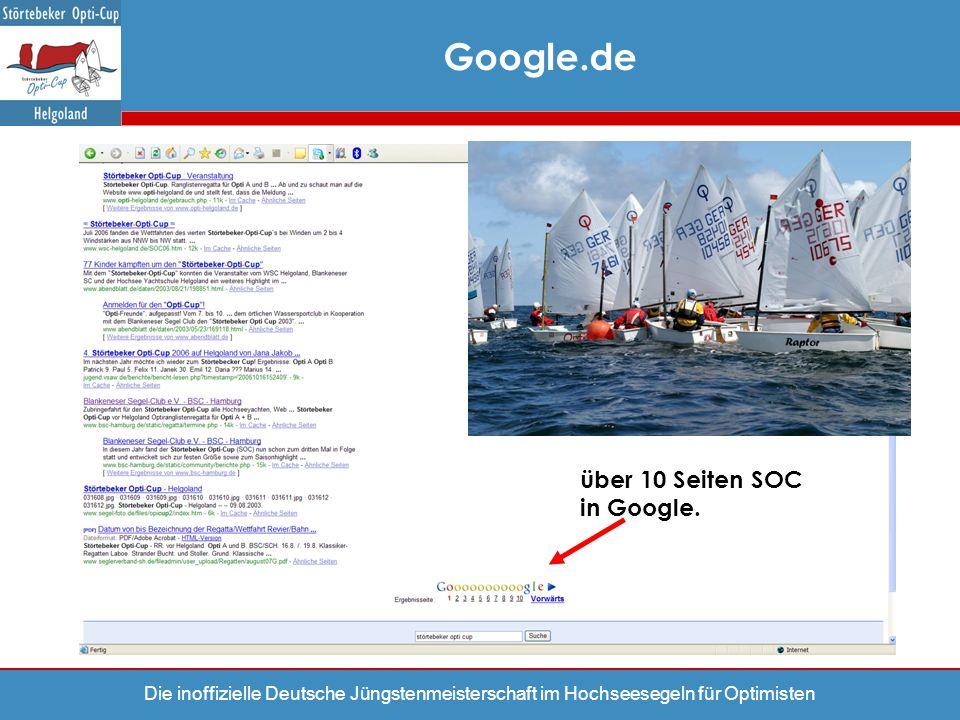 Google.de über 10 Seiten SOC in Google.