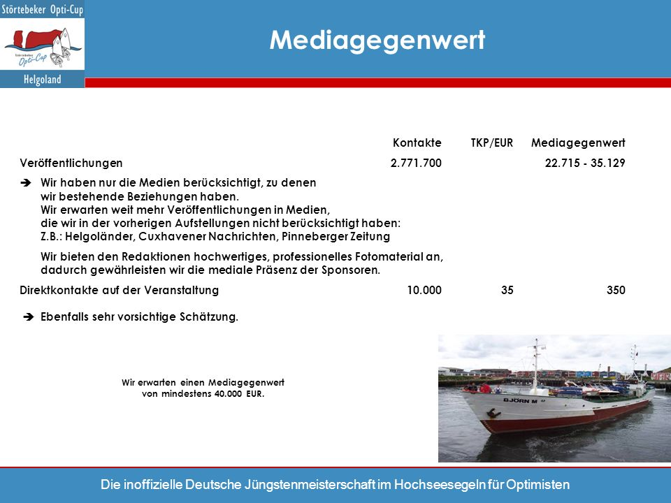 Wir erwarten einen Mediagegenwert von mindestens 40.000 EUR.