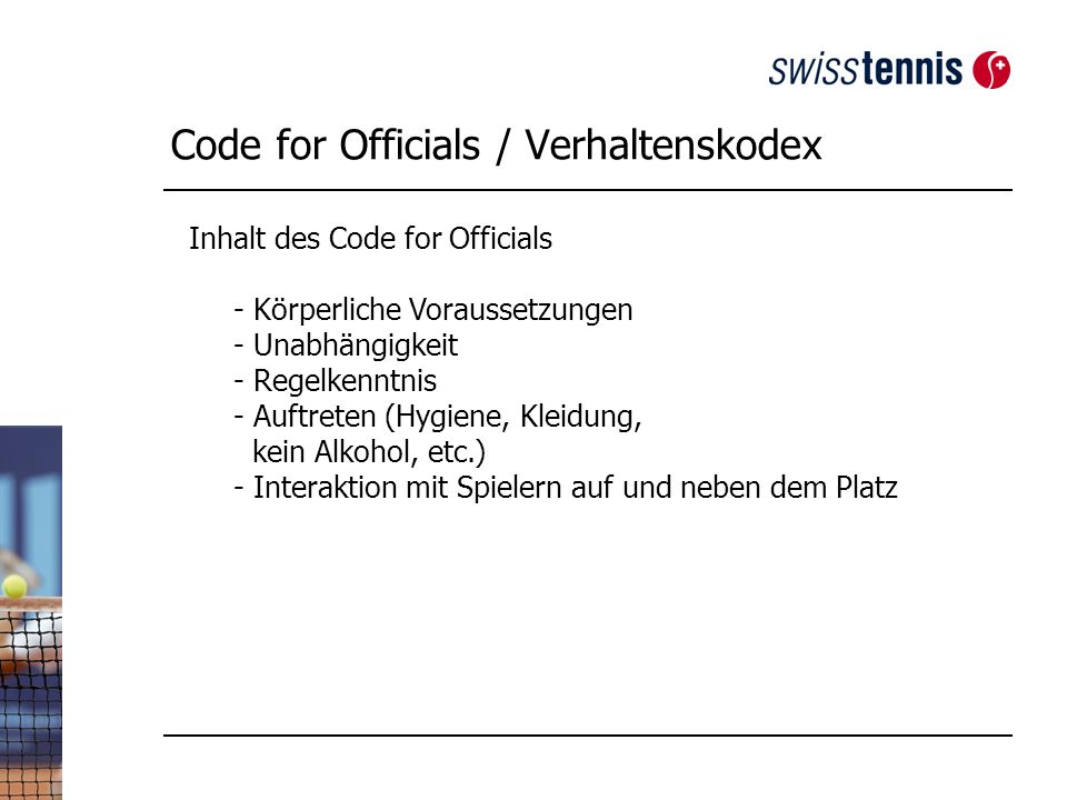 Code for Officials / Verhaltenskodex