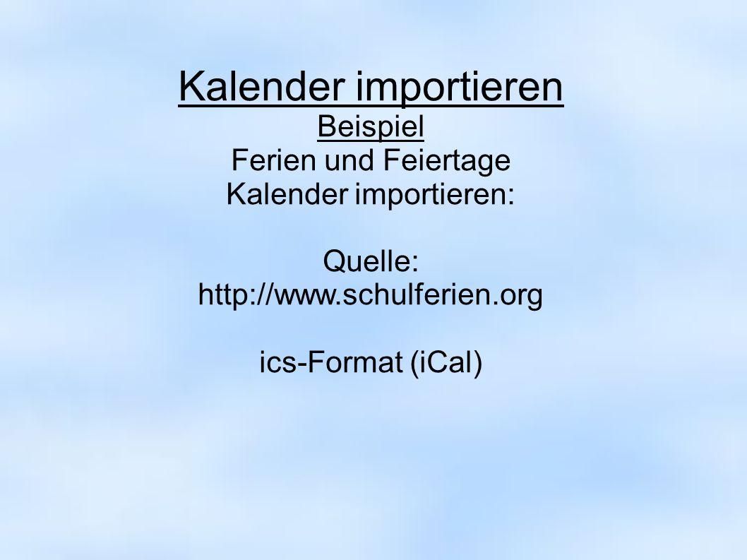 Kalender importieren:
