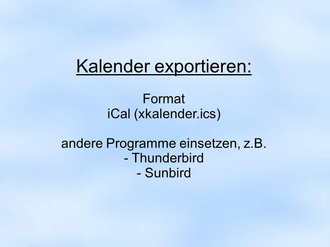 Kalender exportieren:
