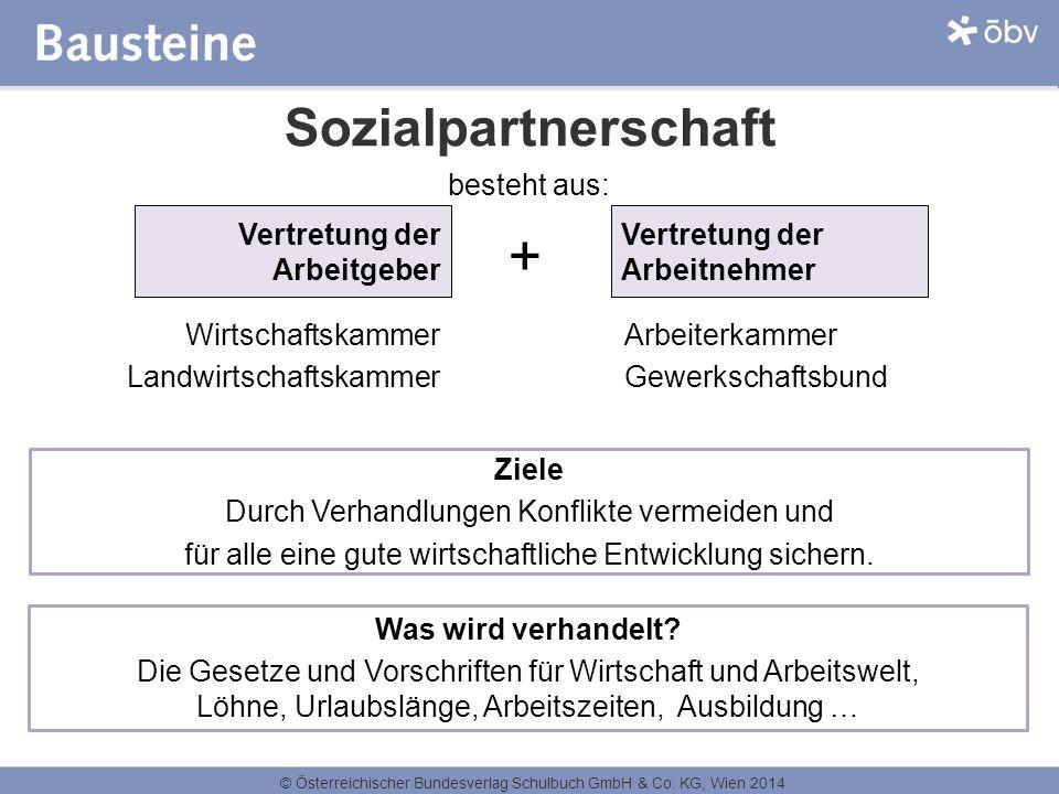 + Sozialpartnerschaft besteht aus: Vertretung der Arbeitgeber