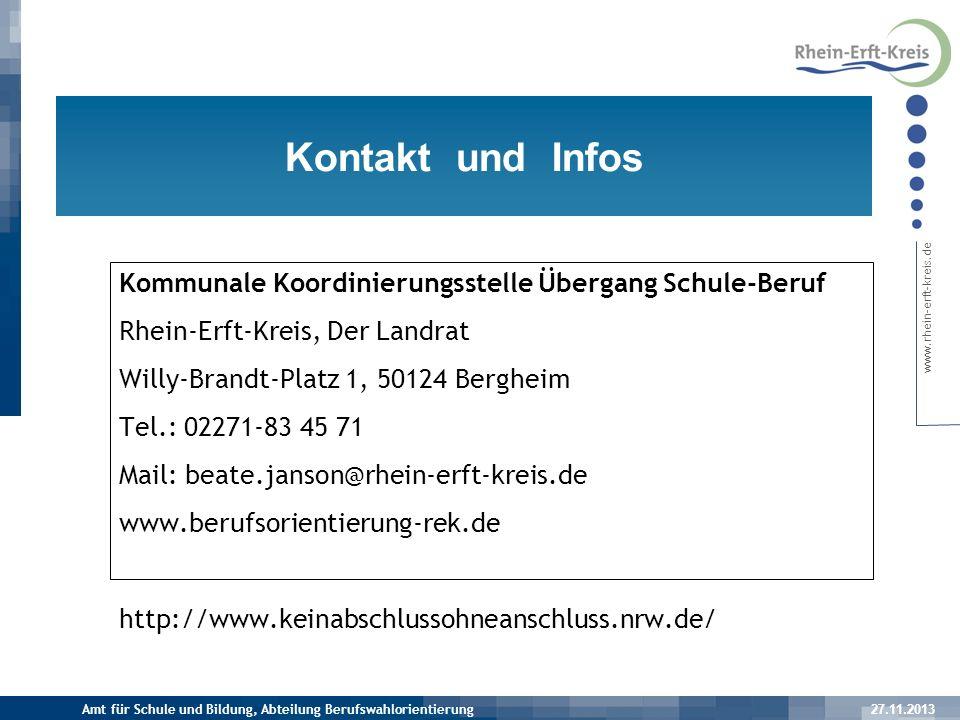 Kontakt und Infos Kommunale Koordinierungsstelle Übergang Schule-Beruf