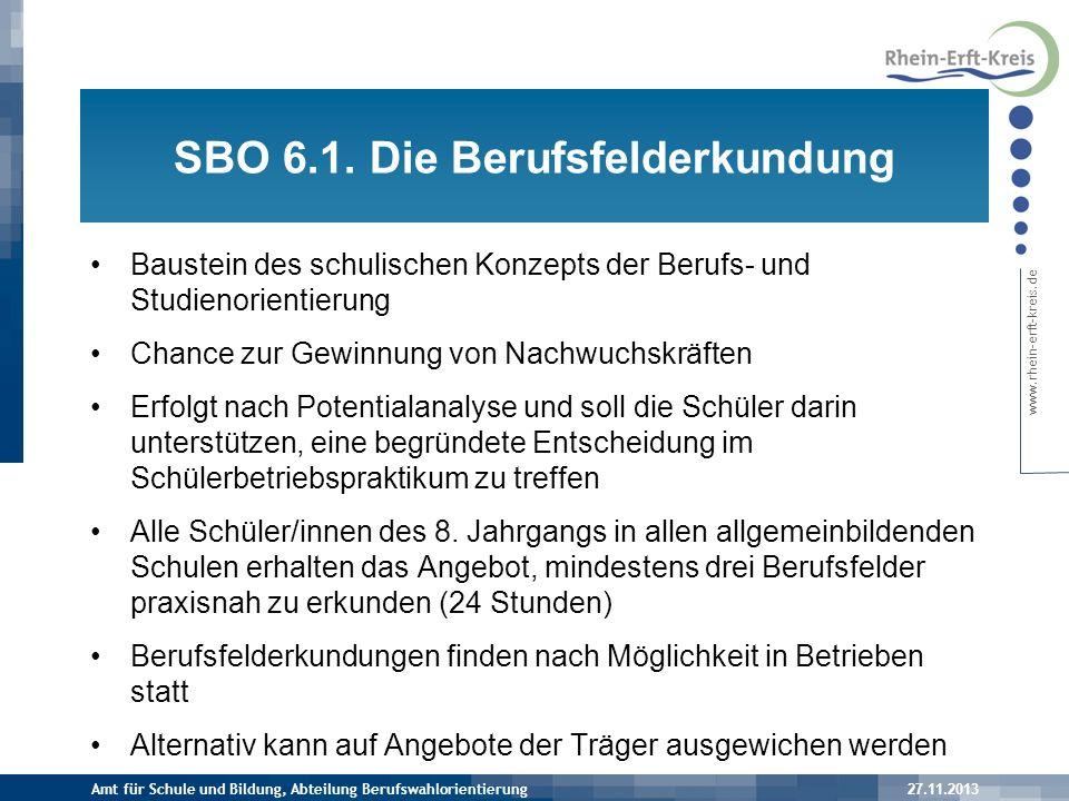 SBO 6.1. Die Berufsfelderkundung