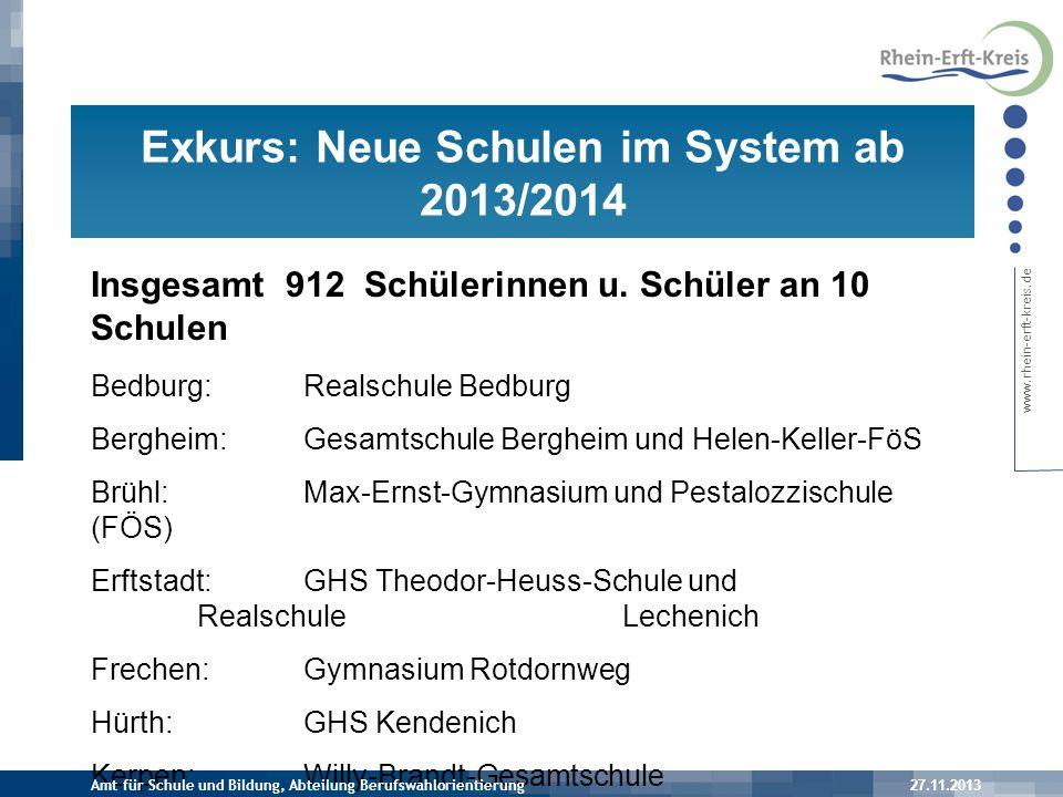 Exkurs: Neue Schulen im System ab 2013/2014