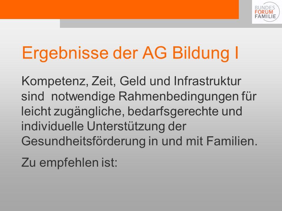 Ergebnisse der AG Bildung I
