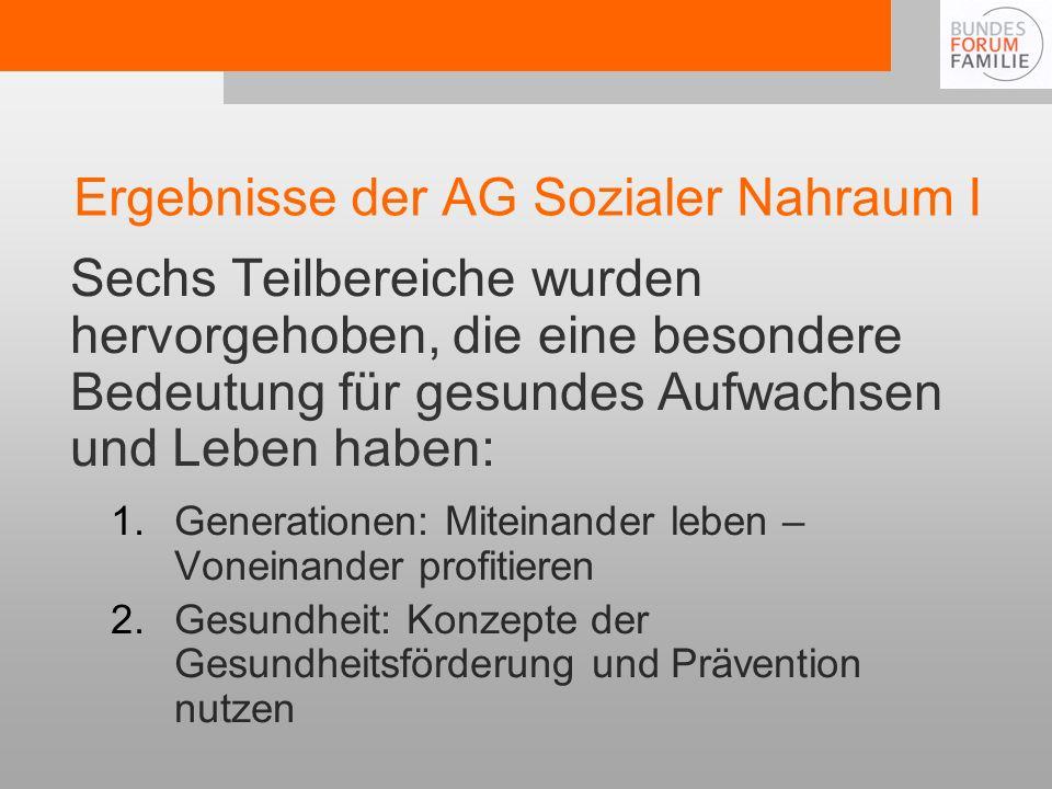 Ergebnisse der AG Sozialer Nahraum I