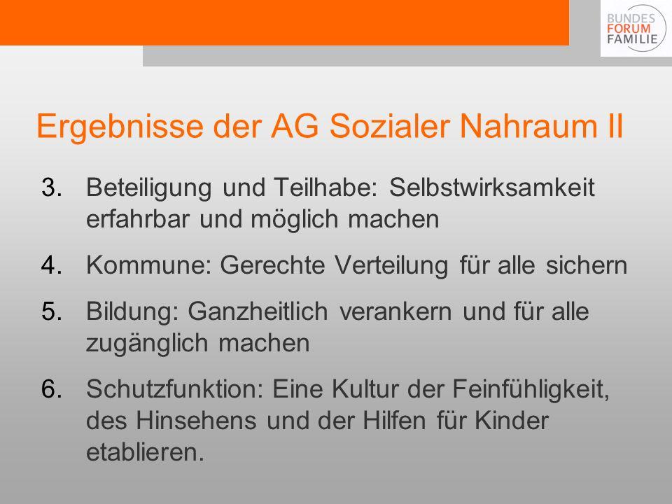 Ergebnisse der AG Sozialer Nahraum II