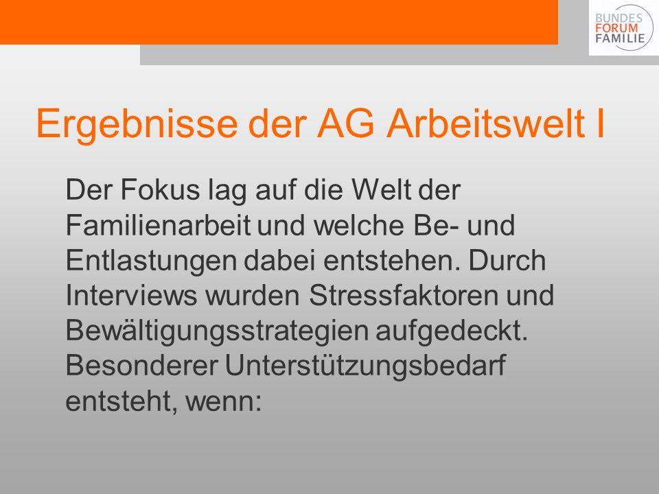 Ergebnisse der AG Arbeitswelt I