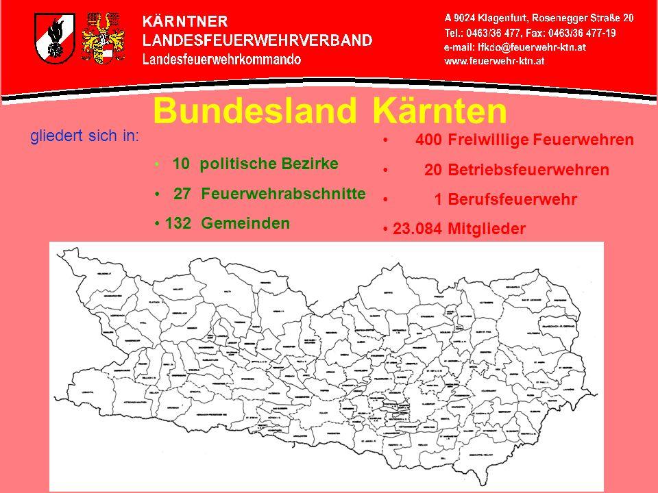 Bundesland Kärnten gliedert sich in: 400 Freiwillige Feuerwehren