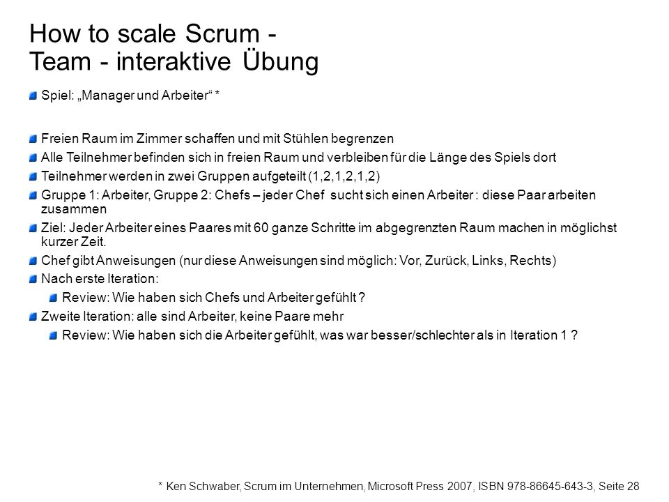How to scale Scrum - Team - interaktive Übung