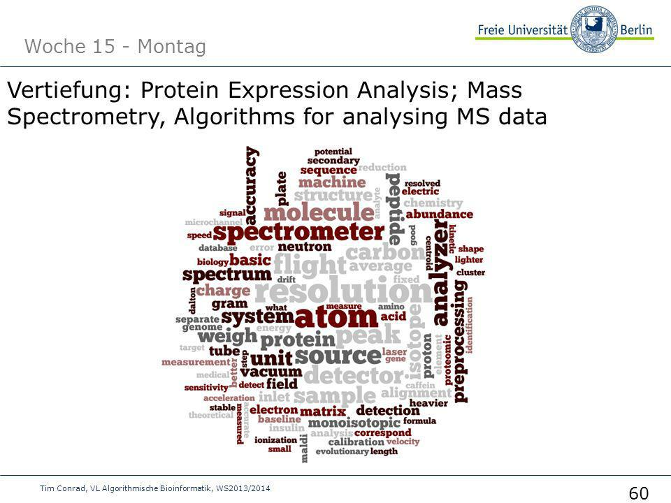 Woche 15 - Montag Vertiefung: Protein Expression Analysis; Mass Spectrometry, Algorithms for analysing MS data.