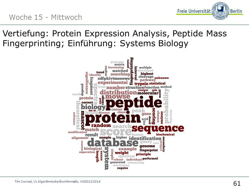 Woche 15 - Mittwoch Vertiefung: Protein Expression Analysis, Peptide Mass Fingerprinting; Einführung: Systems Biology.