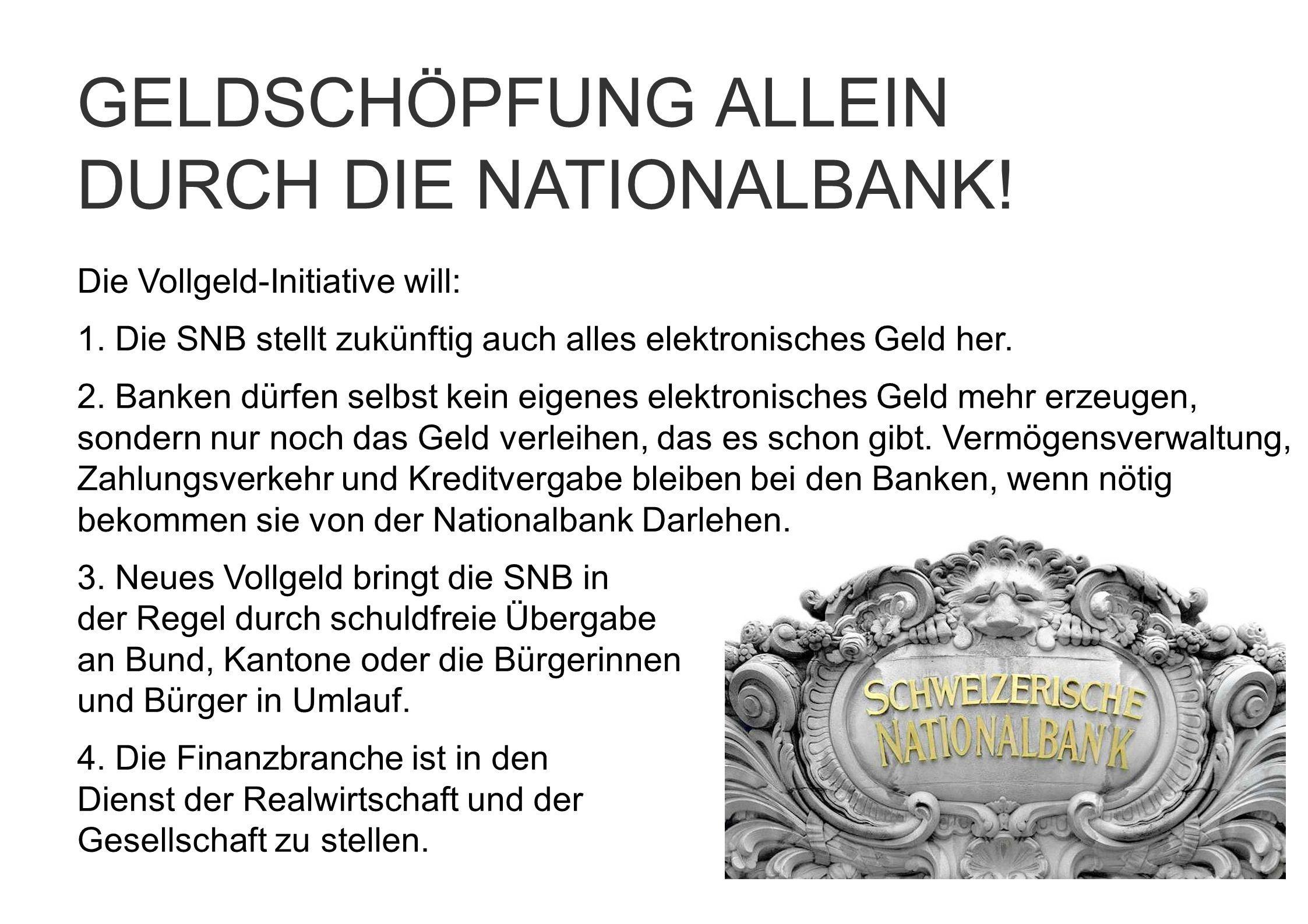 DURCH DIE NATIONALBANK!