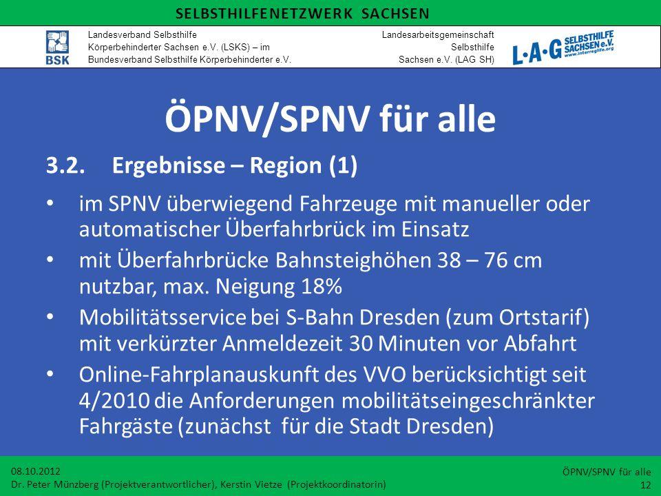 ÖPNV/SPNV für alle 3.2. Ergebnisse – Region (1)