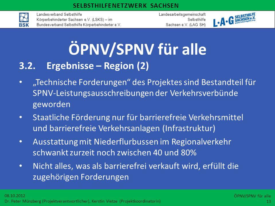 ÖPNV/SPNV für alle 3.2. Ergebnisse – Region (2)