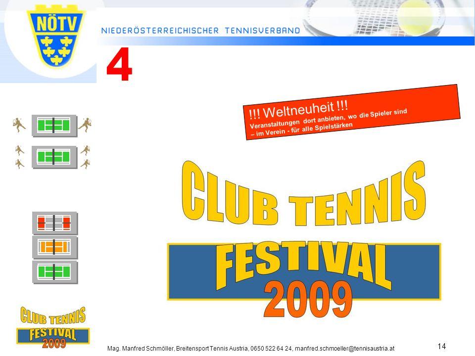 4 !!! Weltneuheit !!! Veranstaltungen dort anbieten, wo die Spieler sind – im Verein - für alle Spielstärken.