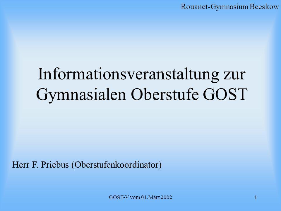 Informationsveranstaltung zur Gymnasialen Oberstufe GOST