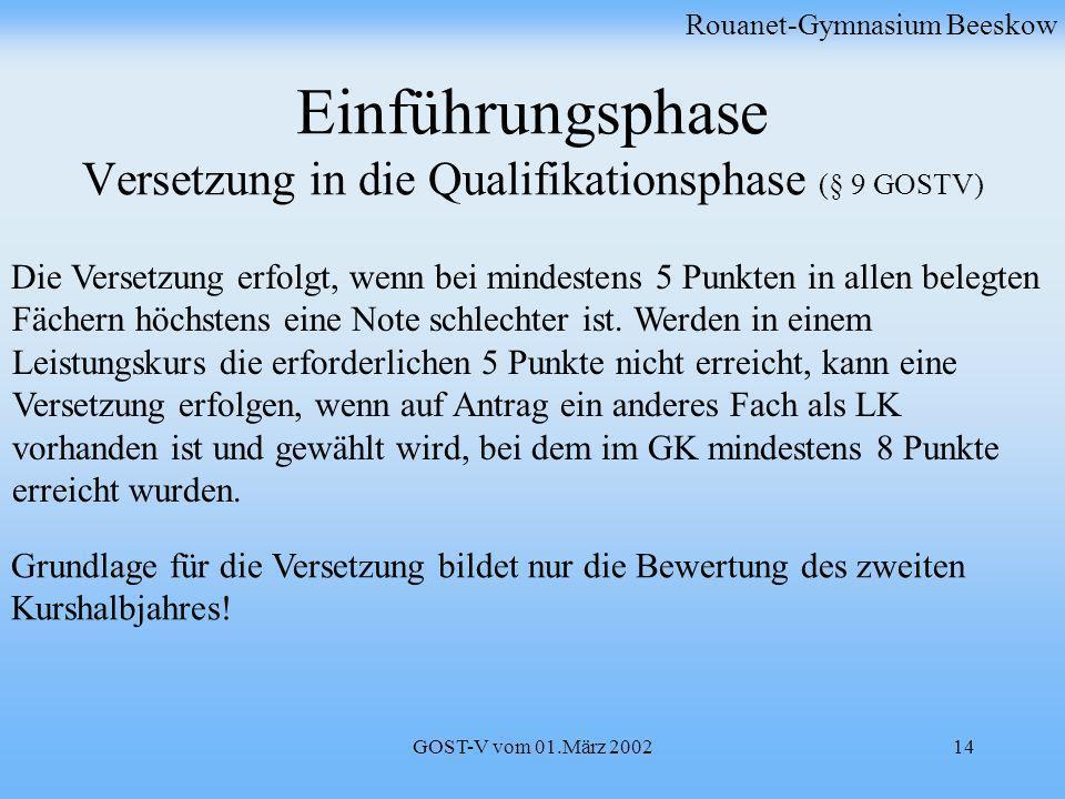 Einführungsphase Versetzung in die Qualifikationsphase (§ 9 GOSTV)