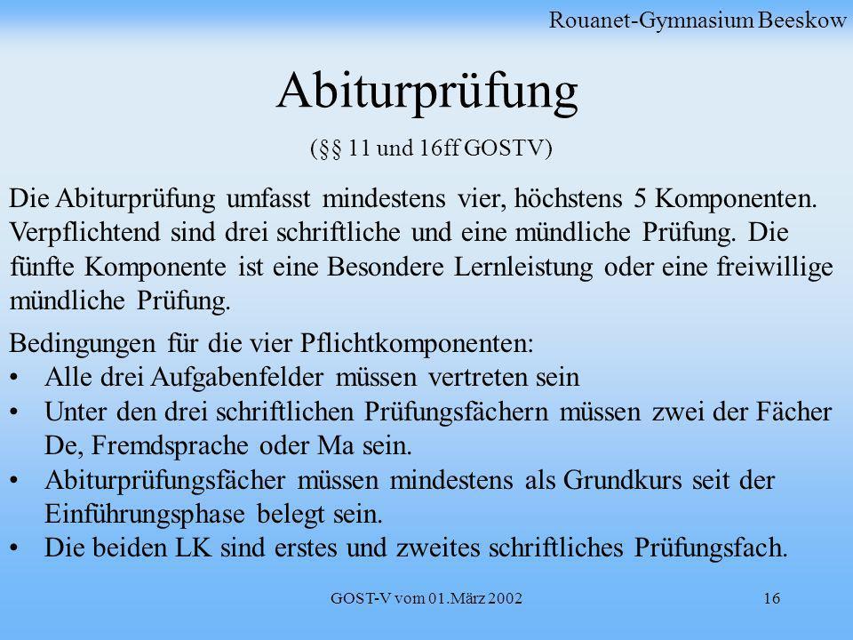 Abiturprüfung (§§ 11 und 16ff GOSTV)