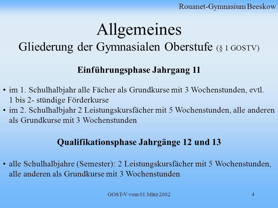 Allgemeines Gliederung der Gymnasialen Oberstufe (§ 1 GOSTV)