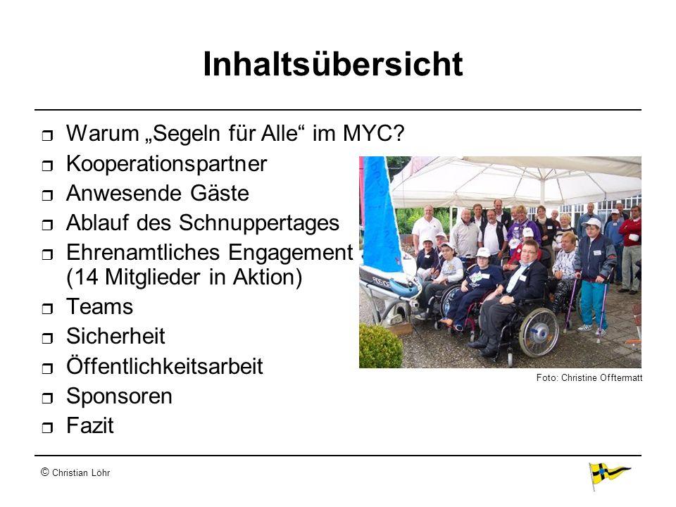 """Inhaltsübersicht Warum """"Segeln für Alle im MYC Kooperationspartner"""