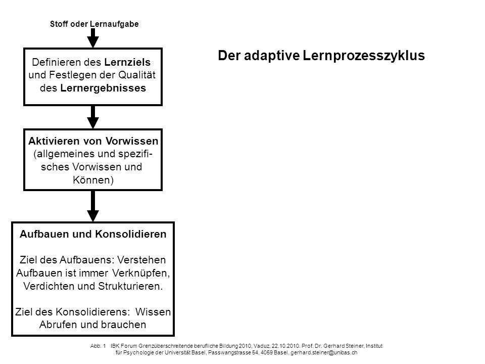 Der adaptive Lernprozesszyklus Aufbauen und Konsolidieren