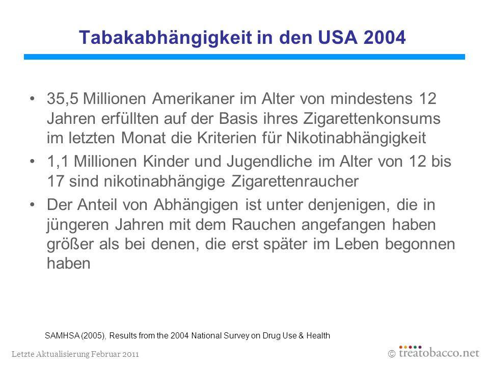 Tabakabhängigkeit in den USA 2004
