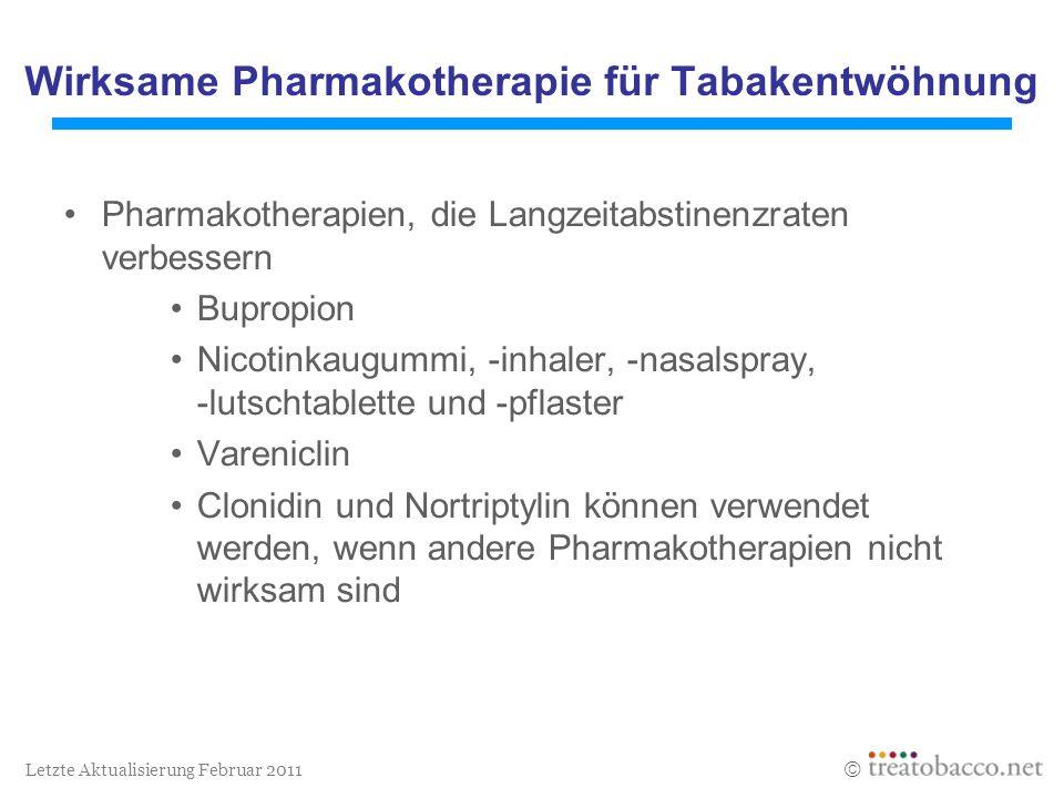 Wirksame Pharmakotherapie für Tabakentwöhnung