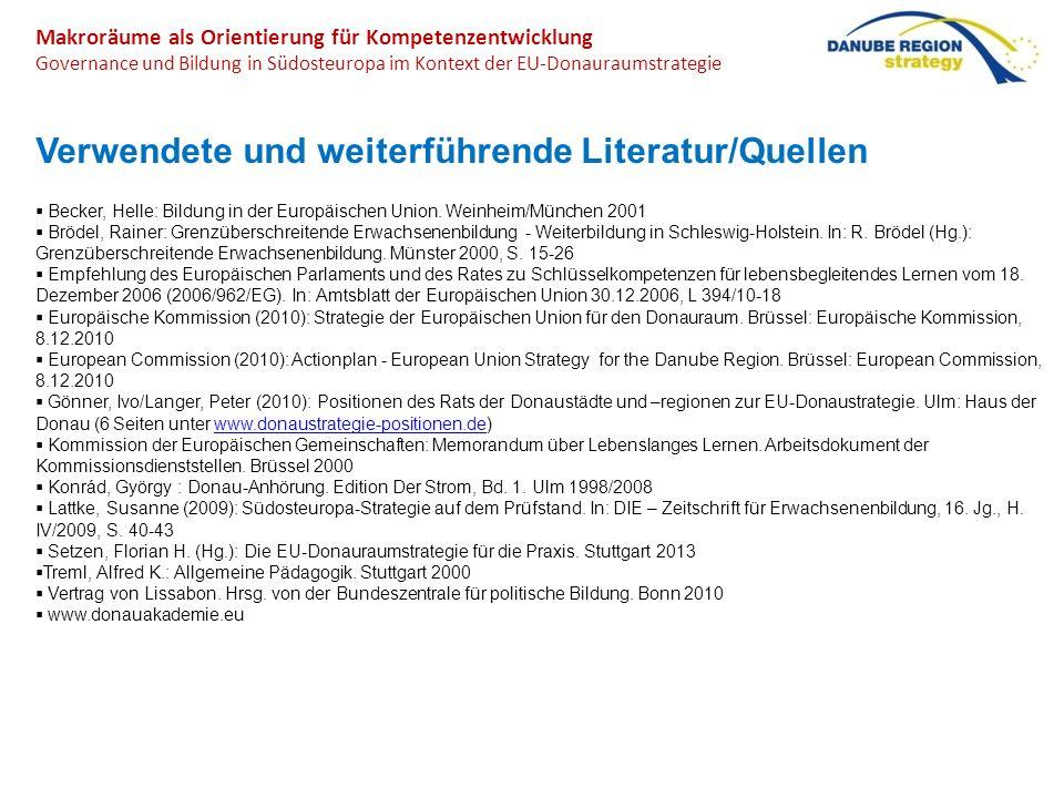 Verwendete und weiterführende Literatur/Quellen