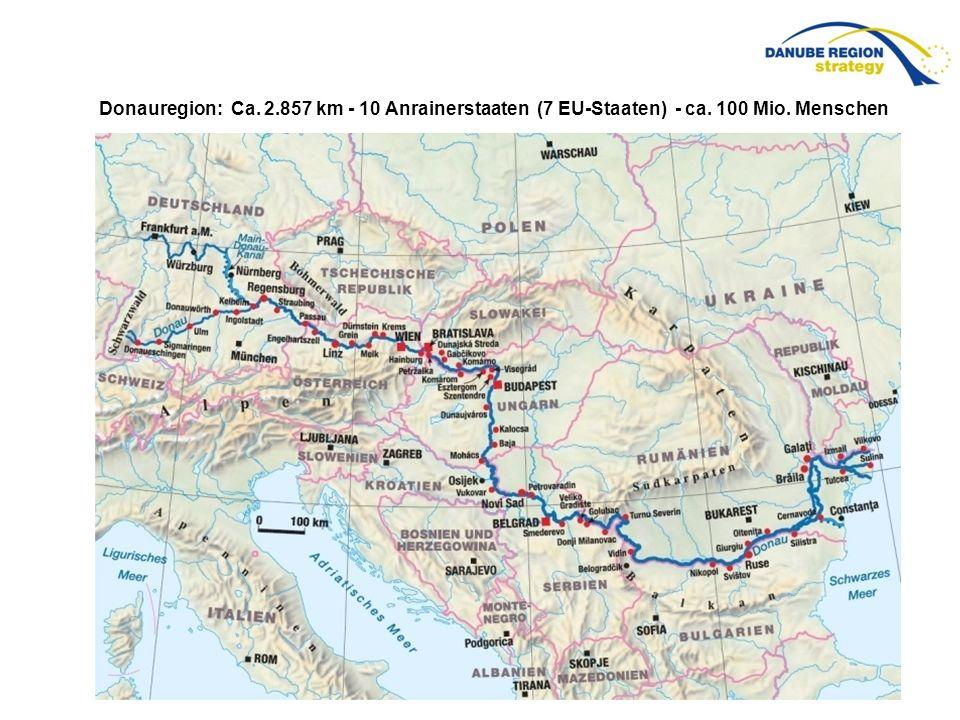 Donauregion: Ca. 2. 857 km - 10 Anrainerstaaten (7 EU-Staaten) - ca
