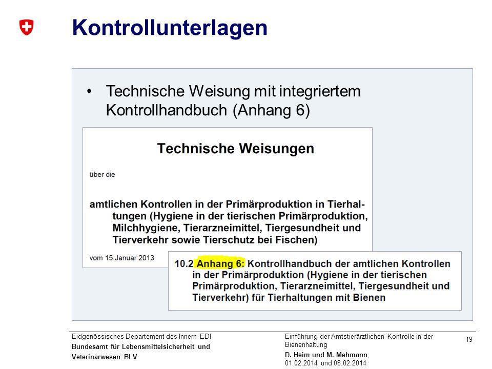 Kontrollunterlagen Technische Weisung mit integriertem Kontrollhandbuch (Anhang 6)