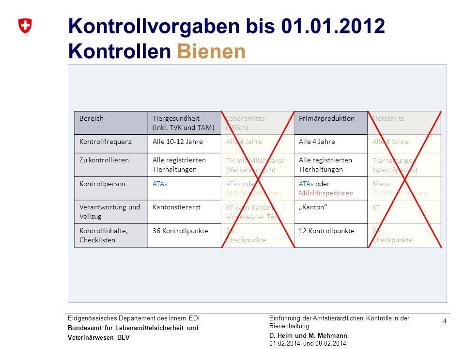 Kontrollvorgaben bis 01.01.2012 Kontrollen Bienen