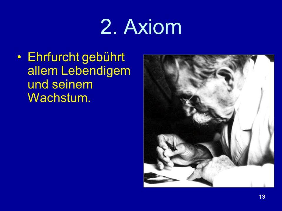 2. Axiom Ehrfurcht gebührt allem Lebendigem und seinem Wachstum.