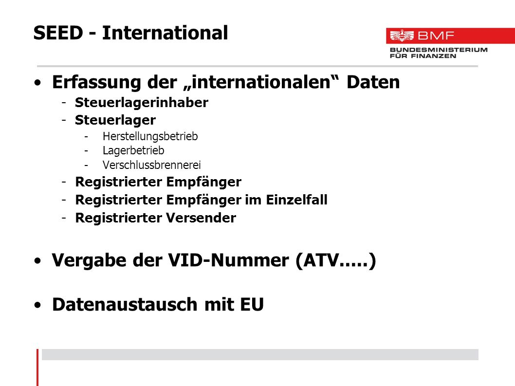 "SEED - International Erfassung der ""internationalen Daten"