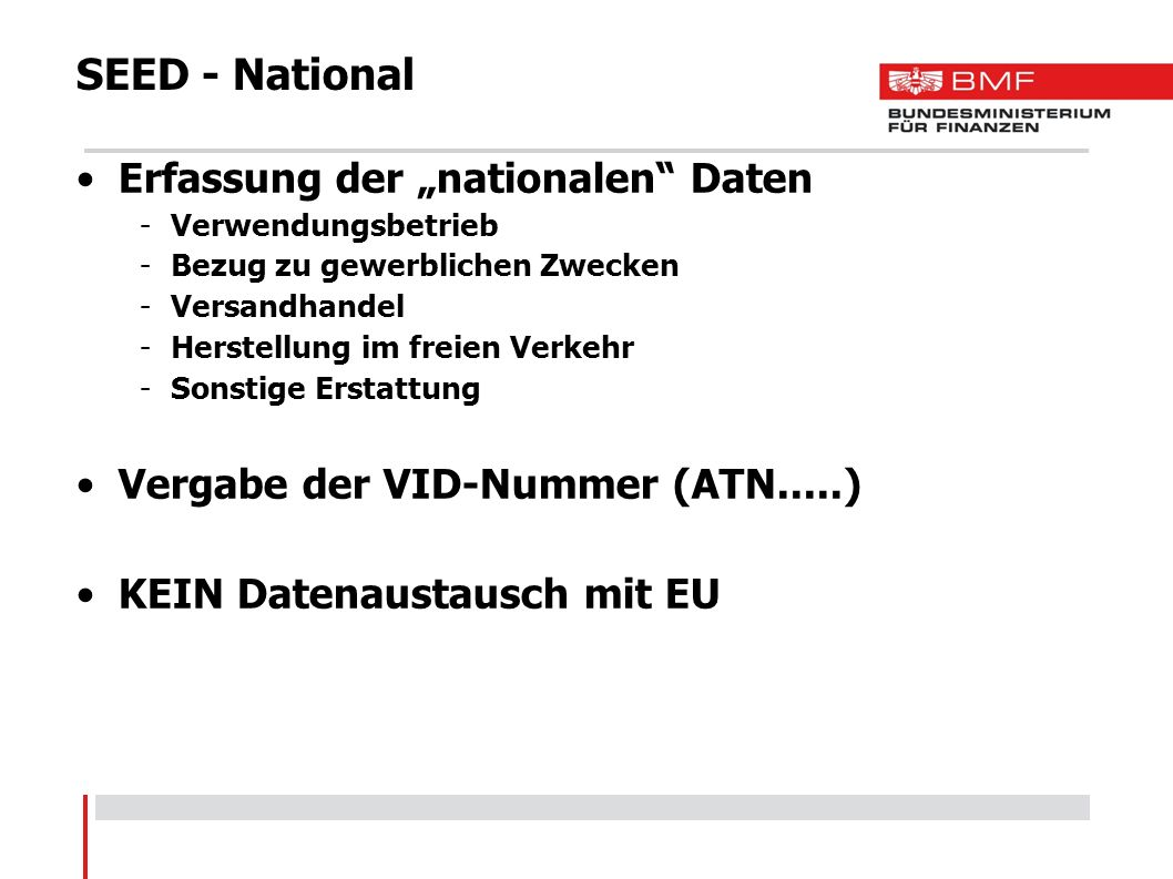"SEED - National Erfassung der ""nationalen Daten"