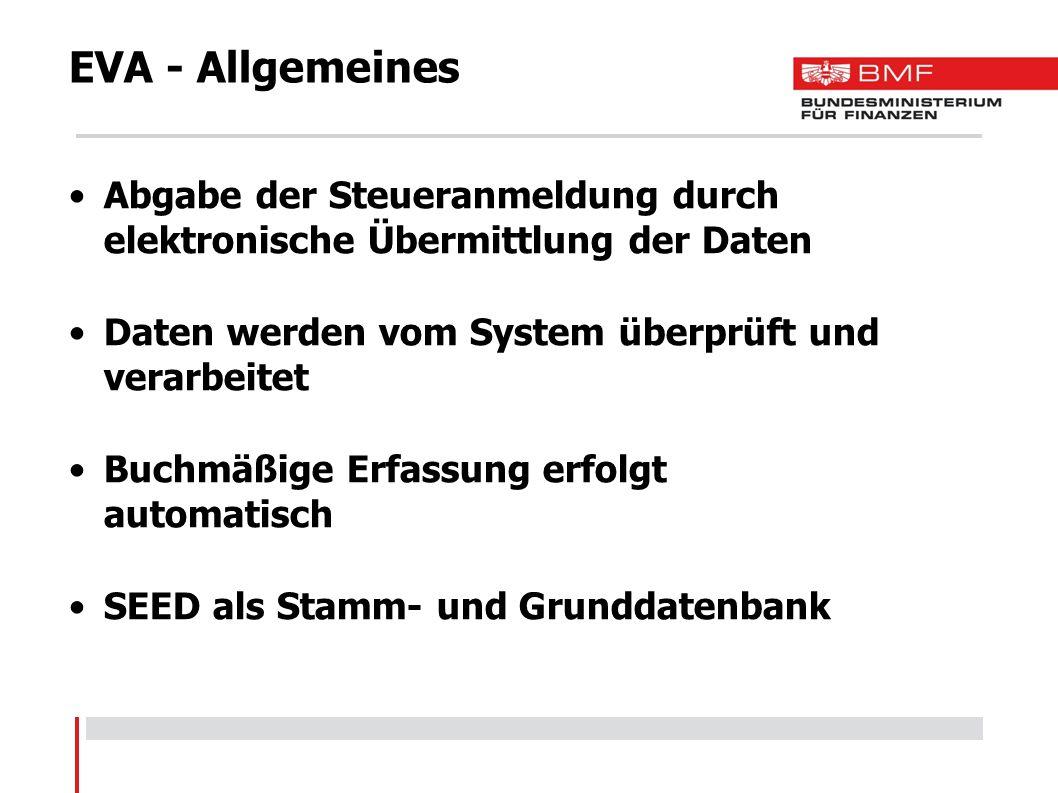 EVA - Allgemeines Abgabe der Steueranmeldung durch elektronische Übermittlung der Daten. Daten werden vom System überprüft und verarbeitet.