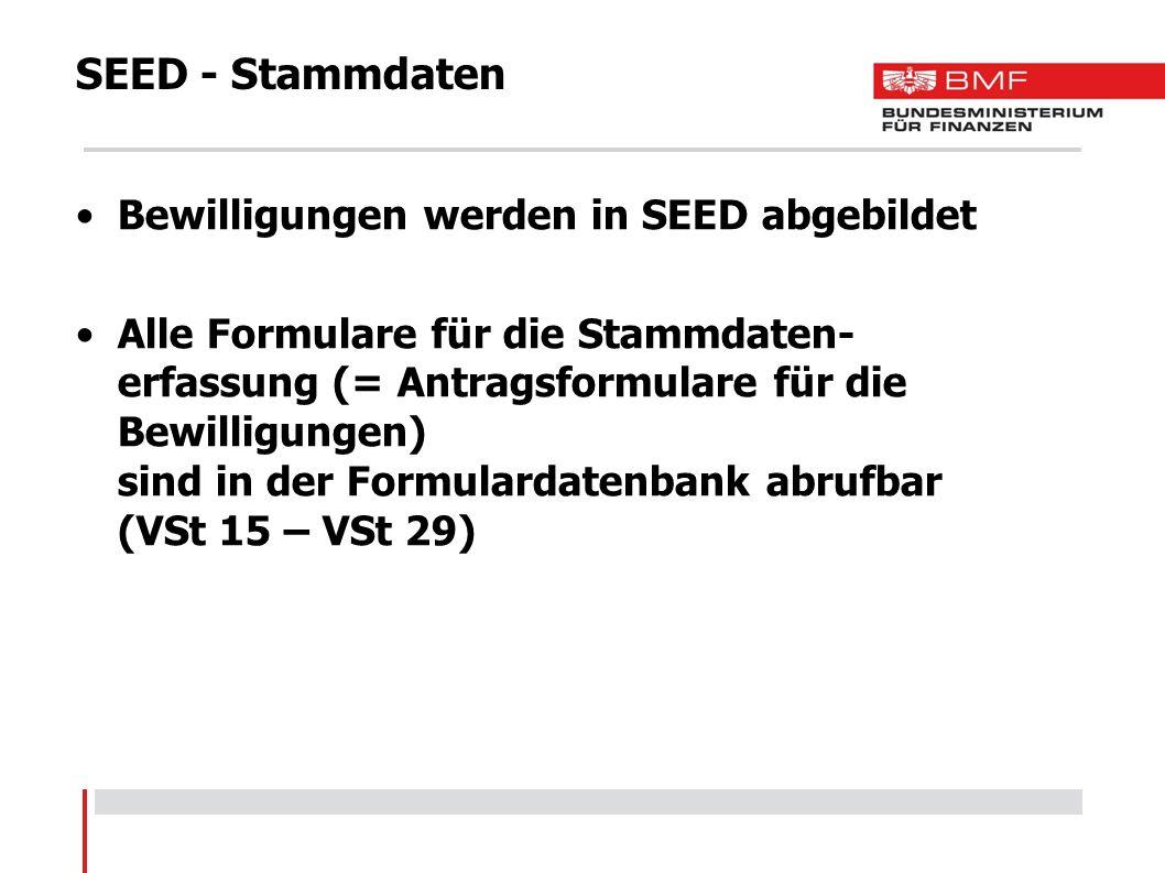 SEED - Stammdaten Bewilligungen werden in SEED abgebildet