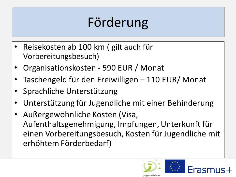 Förderung Reisekosten ab 100 km ( gilt auch für Vorbereitungsbesuch)
