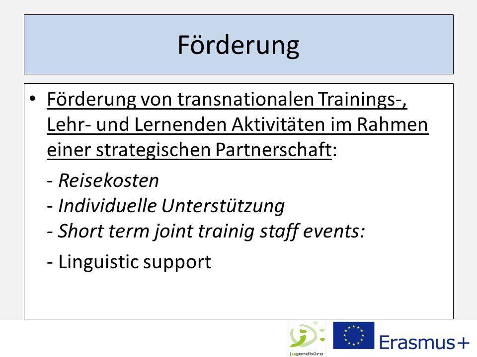 Förderung Förderung von transnationalen Trainings-, Lehr- und Lernenden Aktivitäten im Rahmen einer strategischen Partnerschaft: