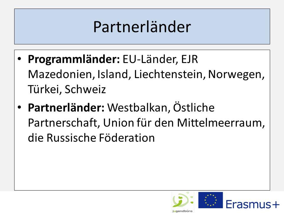 Partnerländer Programmländer: EU-Länder, EJR Mazedonien, Island, Liechtenstein, Norwegen, Türkei, Schweiz.