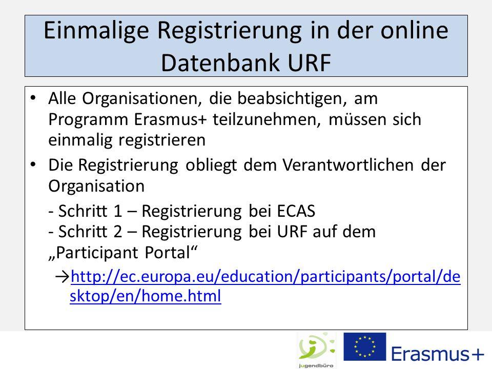 Einmalige Registrierung in der online Datenbank URF